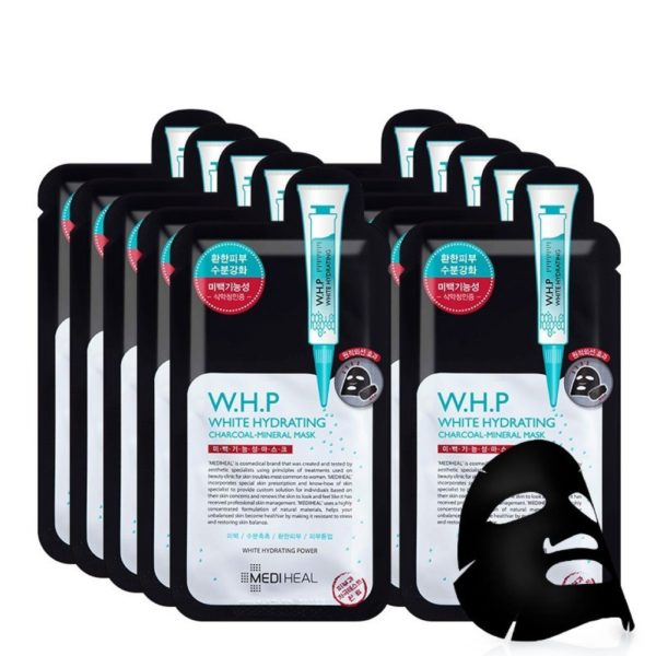 MEDIHEAL BLACK MASK W.H.P White Hydrating Charcoal Mineral Mask