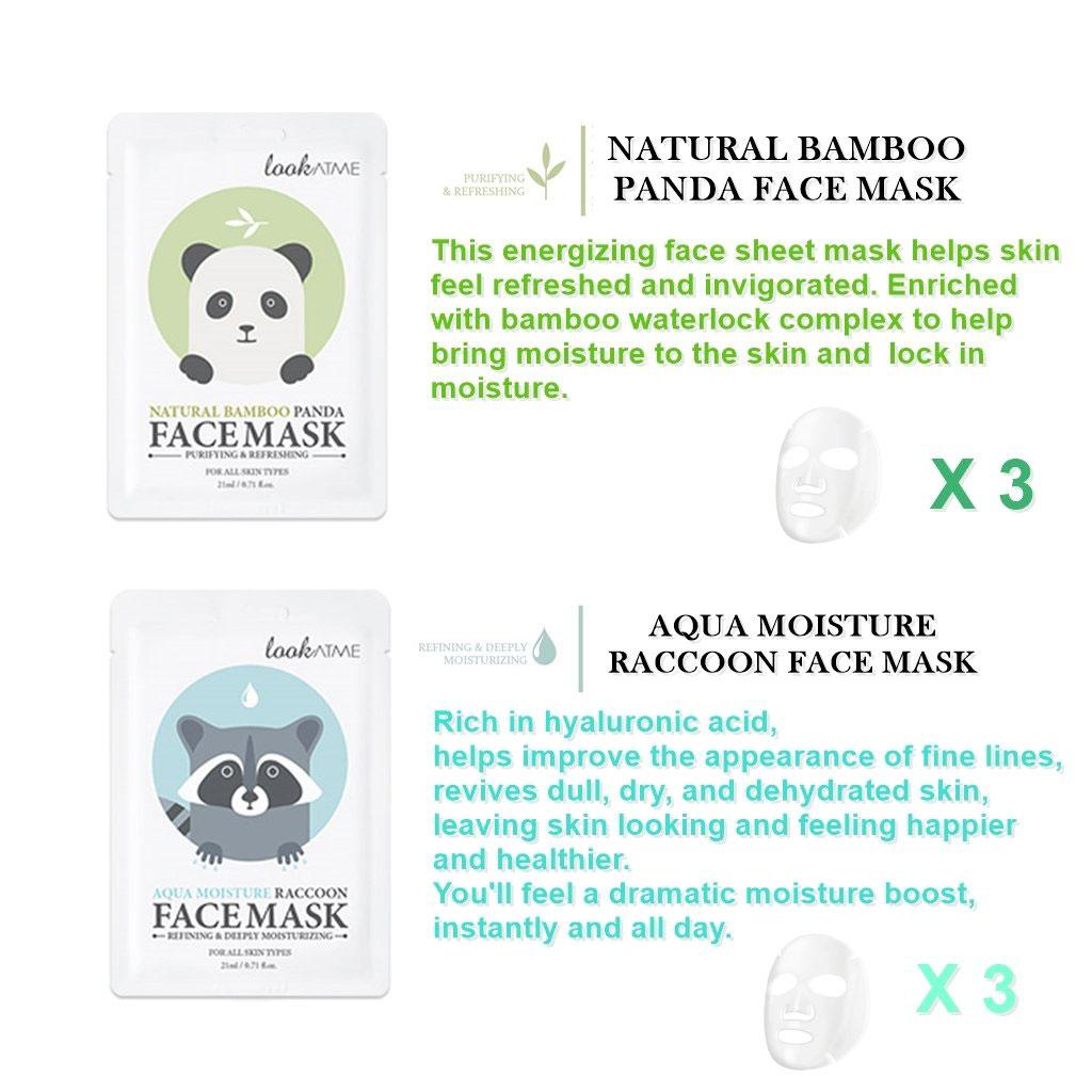 LOOK AT ME Aqua Moisture Raccoon Face Mask