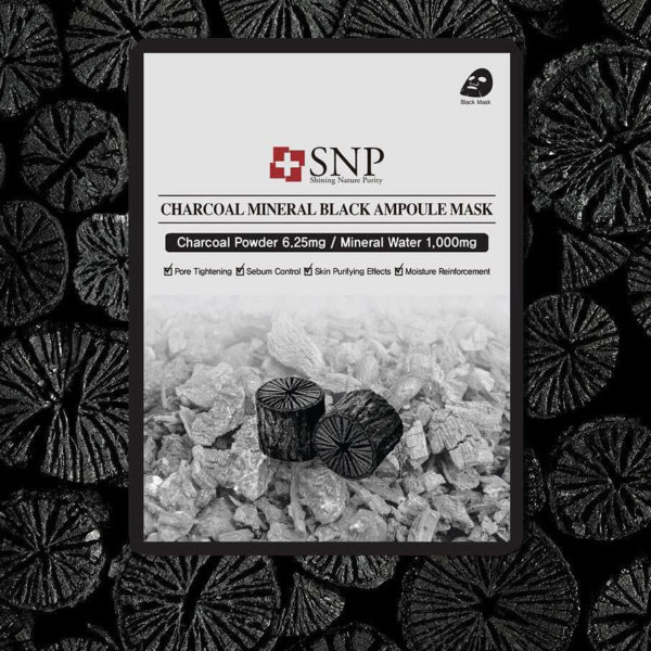 SNP Charcoal Mineral Black Ampoule Mask (10piece)