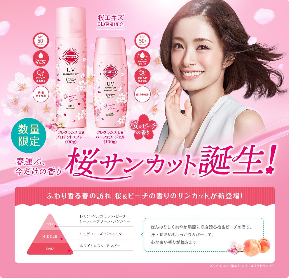 Kose UV Perfect Gel SPF50+PA++++ (Sakura & Peach)