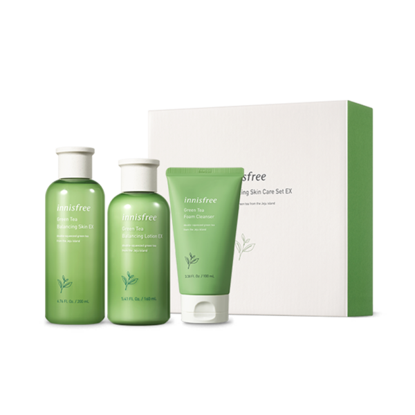 Innisfree Green Tea Balancing Skin Care Set Ex [+Cleanser] (3 Items)