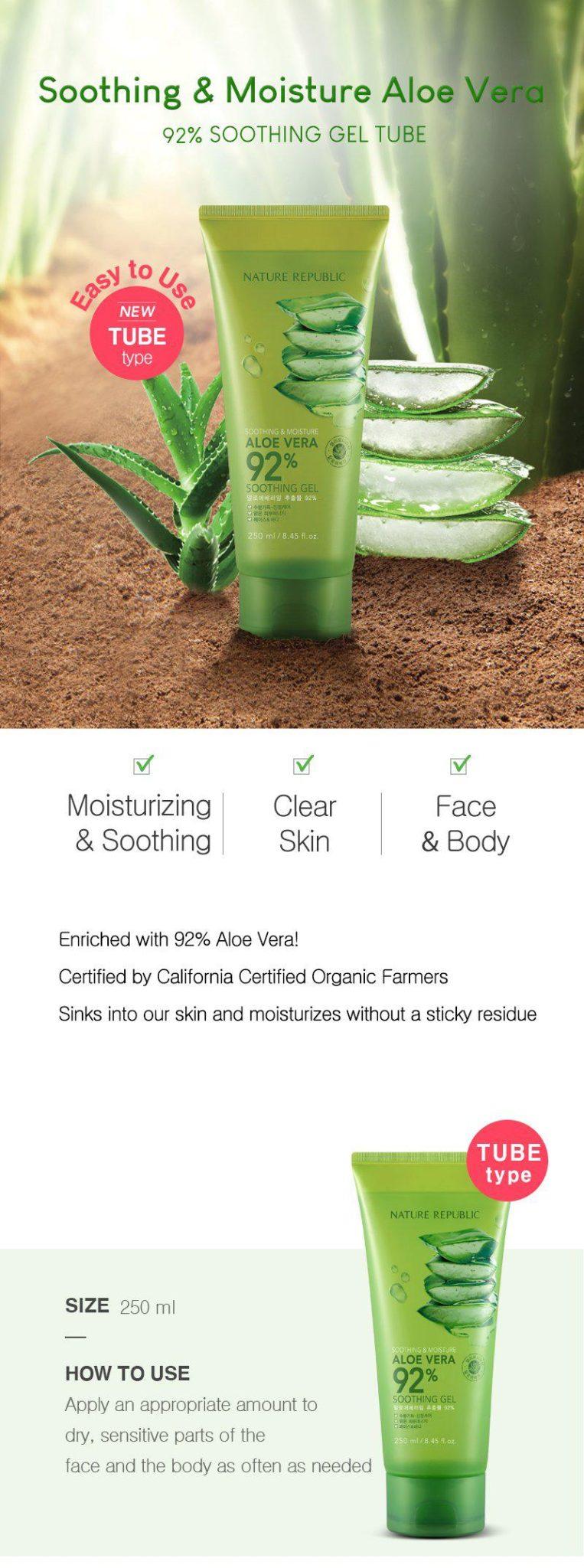 Nature Republic Soothing & Moisture Aloe Vera Gel 92%