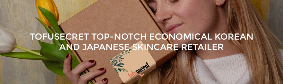"A white woman holding a parcel with TofuSecret's label on it. The text of ""TofuSecret: Top-notch economical Korean and Japanese skincare retailer"" is in the center of the picture."