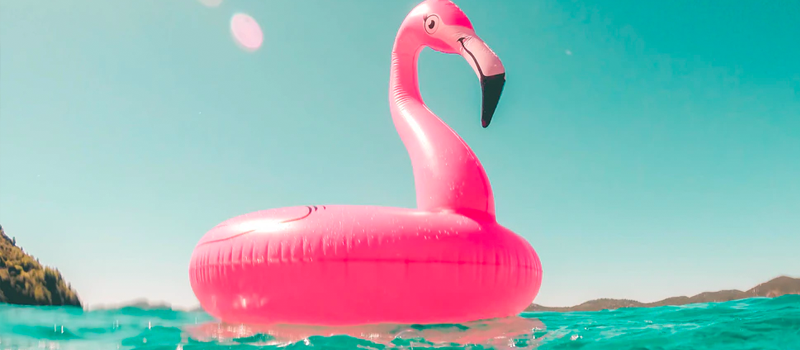 a flamingo lifebuoy floating on the sea